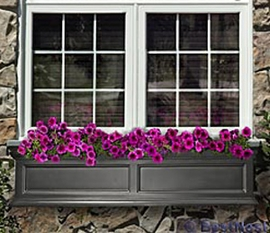 "Fairfield 60"" Window Box with Water Reservoir  (Black)"