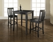 3-Pc Pub Dining Set w/ Cabriole Leg & School House Stools in Black - Crosley - KD320003BK