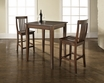 3-Pc Pub Dining Set w/ Cabriole Leg & School House Stools in Mahogany - Crosley - KD320003MA