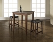 3-Pc Pub Dining Set w/ Cabriole Leg & Upholstered Saddle Stools - Crosley - KD320004MA