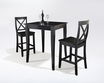3-Pc Pub Dining Set w/ Cabriole Leg & X-Back Stools in Black - Crosley - KD320001BK