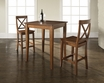 3-Pc Pub Dining Set w/ Cabriole Leg & X-Back Stools in Cherry - Crosley - KD320001CH