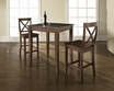 3-Pc Pub Dining Set w/ Cabriole Leg & X-Back Stools in Mahogany - Crosley - KD320001MA