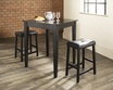 3-Pc Pub Dining Set w/ Tapered Leg & Upholstered Saddle Stools in Black - Crosley - KD320008BK
