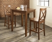 3-Pc Pub Dining Set w/ Tapered Leg & X-Back Stools - Crosley - KD320005CH