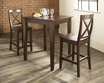3-Pc Pub Dining Set w/ Tapered Leg & X-Back Stools - Crosley - KD320005MA
