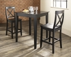 3-Pc Pub Dining Set w/ Tapered Leg & X-Back Stools in Black - Crosley - KD320005BK
