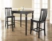 3-Pc Pub Dining Set w/ Turned Leg & School House Stools in Black - Crosley - KD320011BK
