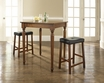 3-Pc Pub Dining Set w/ Turned Leg & Upholstered Saddle Stools - Crosley - KD320012CH