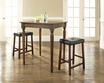 3-Pc Pub Dining Set w/ Turned Leg & Upholstered Saddle Stools - Crosley - KD320012MA
