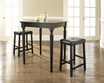 3-Pc Pub Dining Set w/ Turned Leg & Upholstered Saddle Stools in Black - Crosley - KD320012BK