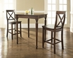 3-Pc Pub Dining Set w/ Turned Leg & X-Back Stools - Crosley - KD320009MA