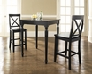 3-Pc Pub Dining Set w/ Turned Leg & X-Back Stools in Black - Crosley - KD320009BK