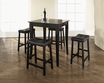 5-Pc Pub Dining Set w/ Cabriole Leg & Upholstered Saddle Stools in Black - Crosley - KD520004BK