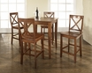 5-Pc Pub Dining Set w/ Cabriole Leg & X-Back Stools in Cherry - Crosley - KD520001CH