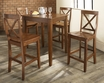 5-Pc Pub Dining Set w/ Tapered Leg & X-Back Stools - Crosley - KD520005CH