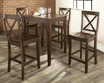 5-Pc Pub Dining Set w/ Tapered Leg & X-Back Stools - Crosley - KD520005MA