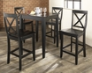 5-Pc Pub Dining Set w/ Tapered Leg & X-Back Stools in Black - Crosley - KD520005BK