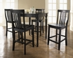 5-Pc Pub Dining Set w/ Turned Leg & School House Stools in Black - Crosley - KD520011BK