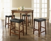 5-Pc Pub Dining Set w/ Turned Leg & Upholstered Saddle Stools - Crosley - KD520012CH