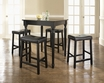 5-Pc Pub Dining Set w/ Turned Leg & Upholstered Saddle Stools in Black - Crosley - KD520012BK