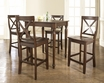 5-Pc Pub Dining Set w/ Turned Leg & X-Back Stools - Crosley - KD520009MA