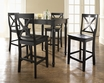 5-Pc Pub Dining Set w/ Turned Leg & X-Back Stools in Black - Crosley - KD520009BK