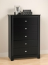 Black 5 Drawer Chest - PREPAC - BDBR-0350-1