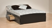 Black Full Platform Storage Bed w/ 6 Drawers - PREPAC - BBD-5600-3K