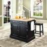 Butcher Block Kitchen Island w/ Saddle Stools - Crosley - KF300064BK
