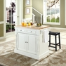 Butcher Block Kitchen Island w/ Saddle Stools - Crosley - KF300064WH
