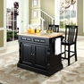 Butcher Block Kitchen Island w/ School House Stools - Crosley - KF300062BK