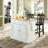 Butcher Block Kitchen Island w/ School House Stools - Crosley - KF300062WH