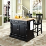 Butcher Block Kitchen Island w/ Shield Back Stools - Crosley - KF300061BK