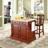 Butcher Block Kitchen Island w/ Shield Back Stools - Crosley - KF300061CH