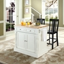 Butcher Block Kitchen Island w/ Shield Back Stools - Crosley - KF300061WH