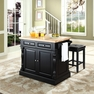 Butcher Block Kitchen Island w/ Square Seat Stools - Crosley - KF300065BK