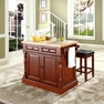 Butcher Block Kitchen Island w/ Square Seat Stools - Crosley - KF300065CH