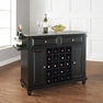 Cambridge Granite Top Wine Island in Black - Crosley - KF31003DBK