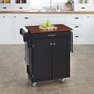 Cuisine Kitchen Cart in Black w/ Cherry Top - Home Styles - 9001-0047G