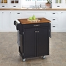 Cuisine Kitchen Cart in Black w/ Oak Top - Home Styles - 9001-0046G