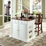 Drop Leaf Island in White w/ Shield Back Stools - Crosley - KF300071WH