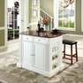 Drop Leaf Kitchen Island in White w/ Saddle Stools - Crosley - KF300074WH