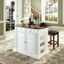 Drop Leaf Kitchen Island in White w/ Square  Stools - Crosley - KF300075WH