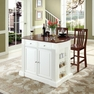 Drop Leaf Kitchen Island in White w/ Stools - Crosley - KF300072WH