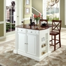 Drop Leaf Kitchen Island in White w/ X-Back Stools - Crosley - KF300073WH