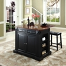 Drop Leaf Kitchen Island w/ Saddle Stools - Crosley - KF300074BK