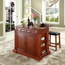 Drop Leaf Kitchen Island w/ Saddle Stools - Crosley - KF300074CH