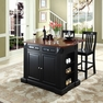 Drop Leaf Kitchen Island w/ School House Stools - Crosley - KF300072BK