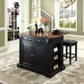 Drop Leaf Kitchen Island w/ Square Stools - Crosley - KF300075BK